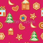 Weihnachts-Lebkuchen Nahtloses Vektormuster