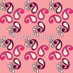 Fancy Paisley Pink Seamless Vector Pattern Design