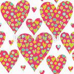 Corações de desenhos animados em corações Design de padrão vetorial sem costura
