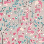 Foxes In Love  Pattern Design