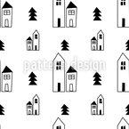 Skizzierte Häuser Nahtloses Vektormuster