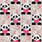 Pandas mit Herz Nahtloses Vektormuster