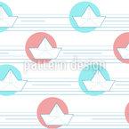 Origami Papierschiffchen Rapportiertes Design