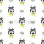 Sibirische Schlittenhunde Nahtloses Vektormuster