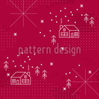 Winter Cottage Seamless Vector Pattern Design