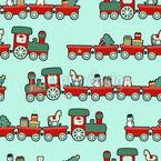 Weihnachts Lokomotive Nahtloses Vektormuster