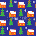 Winter Landscape Seamless Vector Pattern