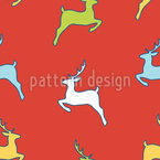Jumping Deer Silhouettes Seamless Vector Pattern Design