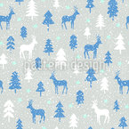 Snowfall In The Forest Seamless Vector Pattern Design