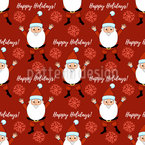 Happy Holidays With Santa Claus Seamless Vector Pattern Design