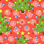 Christmas Tree Fun Seamless Vector Pattern Design