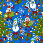 Christmas Party With Santa Seamless Vector Pattern Design