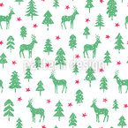 Deer In A Snowy Forest Seamless Vector Pattern Design