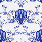 Gzhel Flowers Seamless Vector Pattern Design