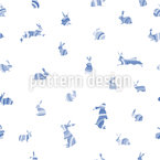 Bunnies In Stripes Seamless Vector Pattern Design