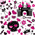 Pirate Princess Seamless Vector Pattern