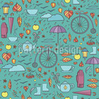 A Walk In The Autumn Park Seamless Vector Pattern Design