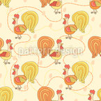 Rooster Seamless Vector Pattern Design
