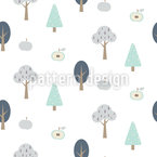 Forest With Apples Seamless Vector Pattern Design