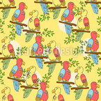 Tropical Parrots Seamless Vector Pattern Design
