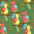 Parrots in Love Seamless Vector Pattern Design