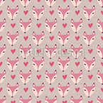 Cute Lady Foxes Seamless Vector Pattern Design