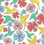 Humming Birds And Exotic Flowers Design Pattern