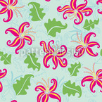 Pink Lily Seamless Vector Pattern Design