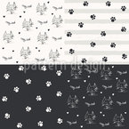 Cats And Paws Seamless Vector Pattern Design
