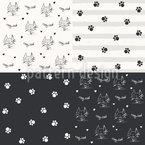 Kätzchen Und Tatzen Muster Design
