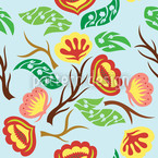 Blossom Twister Fantasia Seamless Pattern