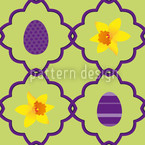 Easter Daffodils Seamless Vector Pattern Design