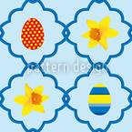 Jonquilles de Pâques Bleu Motif Vectoriel Sans Couture
