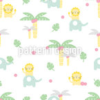 Kids Safari Seamless Vector Pattern Design