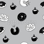 Heiße Donuts und Kaffee Muster Design