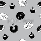 Hot Donuts and Coffee Pattern Design