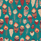 Patchwork Feathers Seamless Vector Pattern