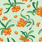 Sea Buckthorn Seamless Vector Pattern Design