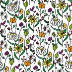 Blumenwiese Im Skizzenbuch Nahtloses Vektor Muster