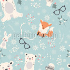 Cute Xmas Buddies Seamless Vector Pattern Design