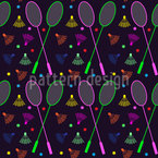 Neon Badminton Seamless Vector Pattern Design