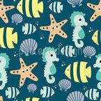 Niedliche Meerestiere Nahtloses Vektormuster