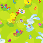 Easter Egg Hunt Seamless Vector Pattern Design