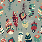 Kunstvolle Tribale Federn Nahtloses Vektormuster