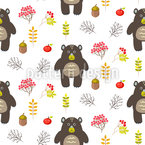 Cartoon Bears In The Wood Repeating Pattern