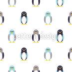 Cute Penguins Seamless Vector Pattern Design