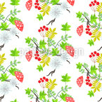 Rowan Blätter und Fliegenpilze Vektor Ornament