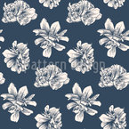 Antique Peony Seamless Vector Pattern Design