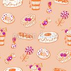 Zuckersüße Bäckerei Nahtloses Vektormuster