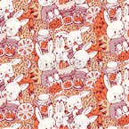 Bunnies Love Carrotcakes Seamless Vector Pattern Design